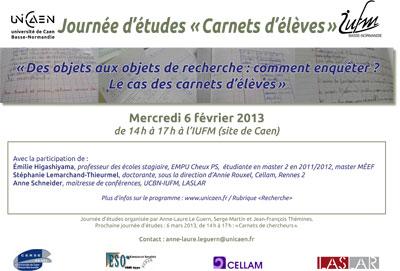 Journée d'études Carnets d'élèves - Affiche
